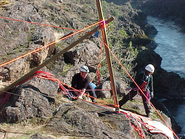 Don on belay, Ruth on edge